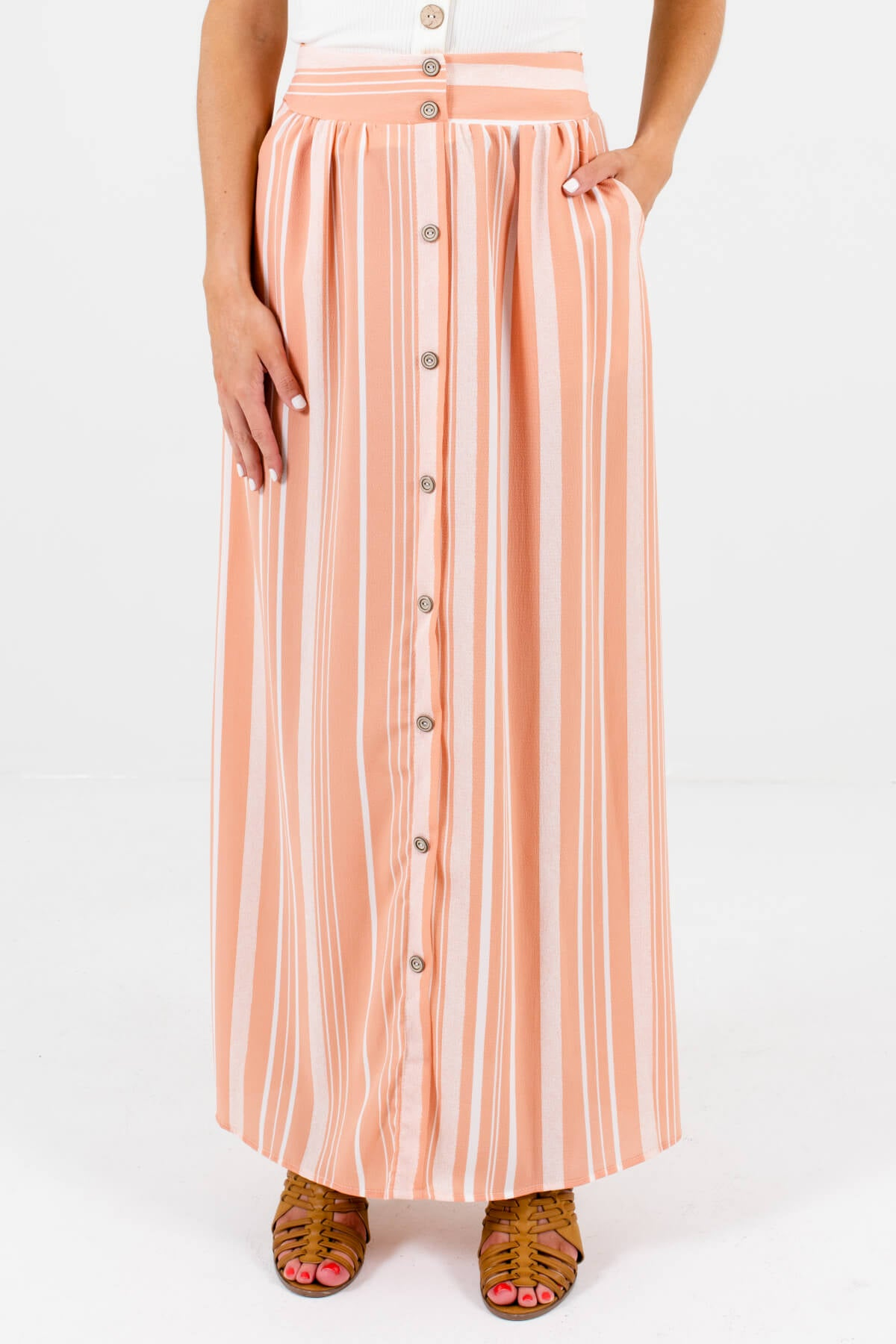 Peach Pink and White Striped Boutique Maxi Skirts for Women