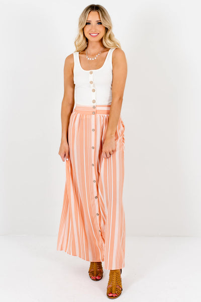 Women's Peach Pink Cute and Comfortable Boutique Maxi Skirts