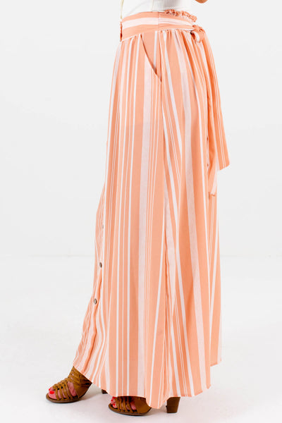 Peach Pink Waist Tie Detail Boutique Maxi Skirts for Women