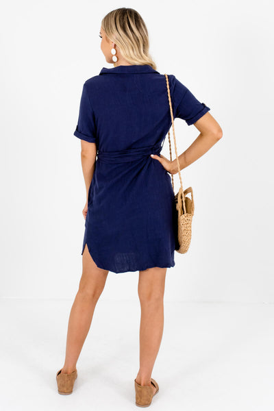 Navy Blue Asymmetrical Button Mini Dresses Affordable Online Boutique