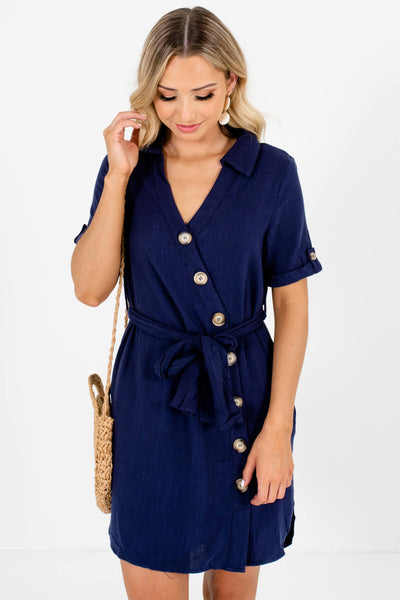 Navy Blue Asymmetrical Button-Up Mini Dresses Affordable Online Boutique