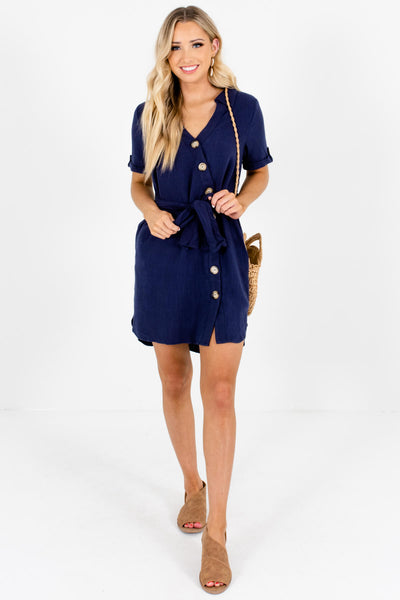 Navy Blue Asymmetrical Button-Up Boutique Mini Dresses