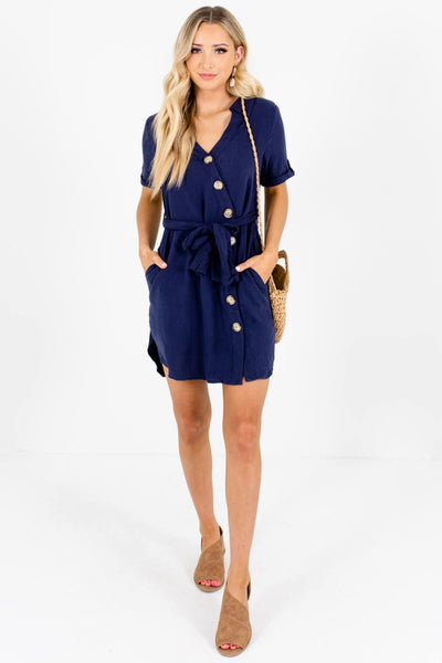 Navy Blue Asymmetrical Button Up Boutique Mini Dresses