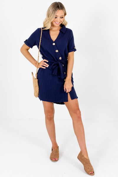 Navy Blue Asymmetrical Button-Up Mini Dresses for Summer and Fall