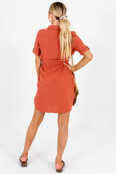 Rust Orange Asymmetrical Button-Up Boutique Mini Dresses