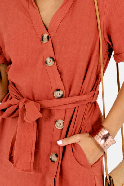 Rust Orange Cute Button-Up Mini Dresses Affordable Online Boutique