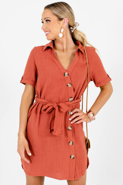 Rust Orange Asymmetrical Button-Up Mini Dresses for Women