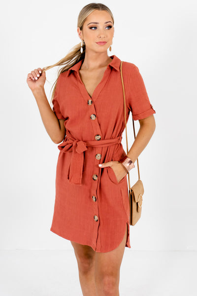 Rust Orange Asymmetrical Button-Up Mini Dresses Boutique