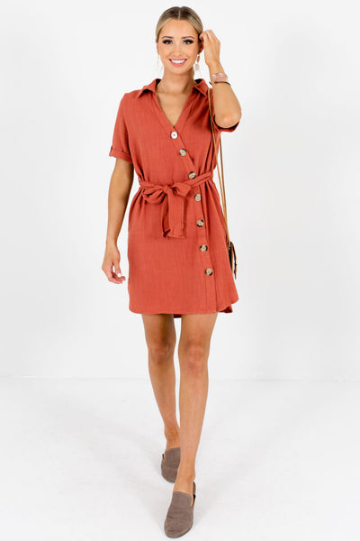 Rust Orange Asymmetrical Button-Up Mini Dresses for Summer and Fall