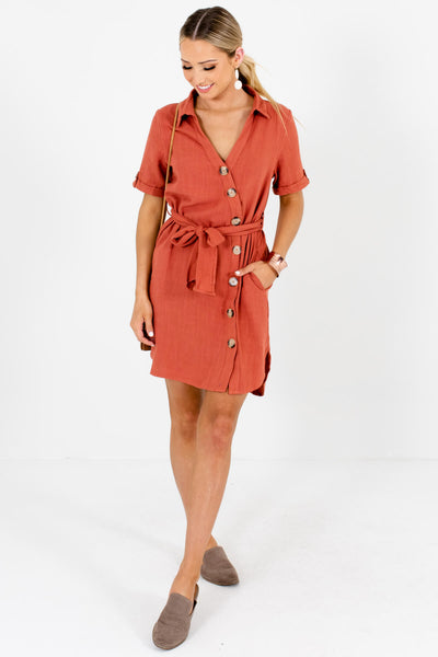 Rust Orange Asymmetrical Button Mini Dresses Affordable Boutique