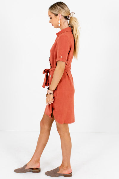 Rust Orange Button Mini Dresses Affordable Online Boutique