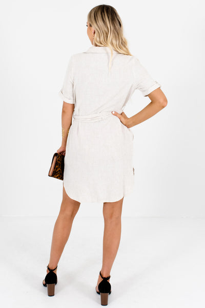 Beige Asymmetrical Button Mini Dresses Affordable Online Boutique