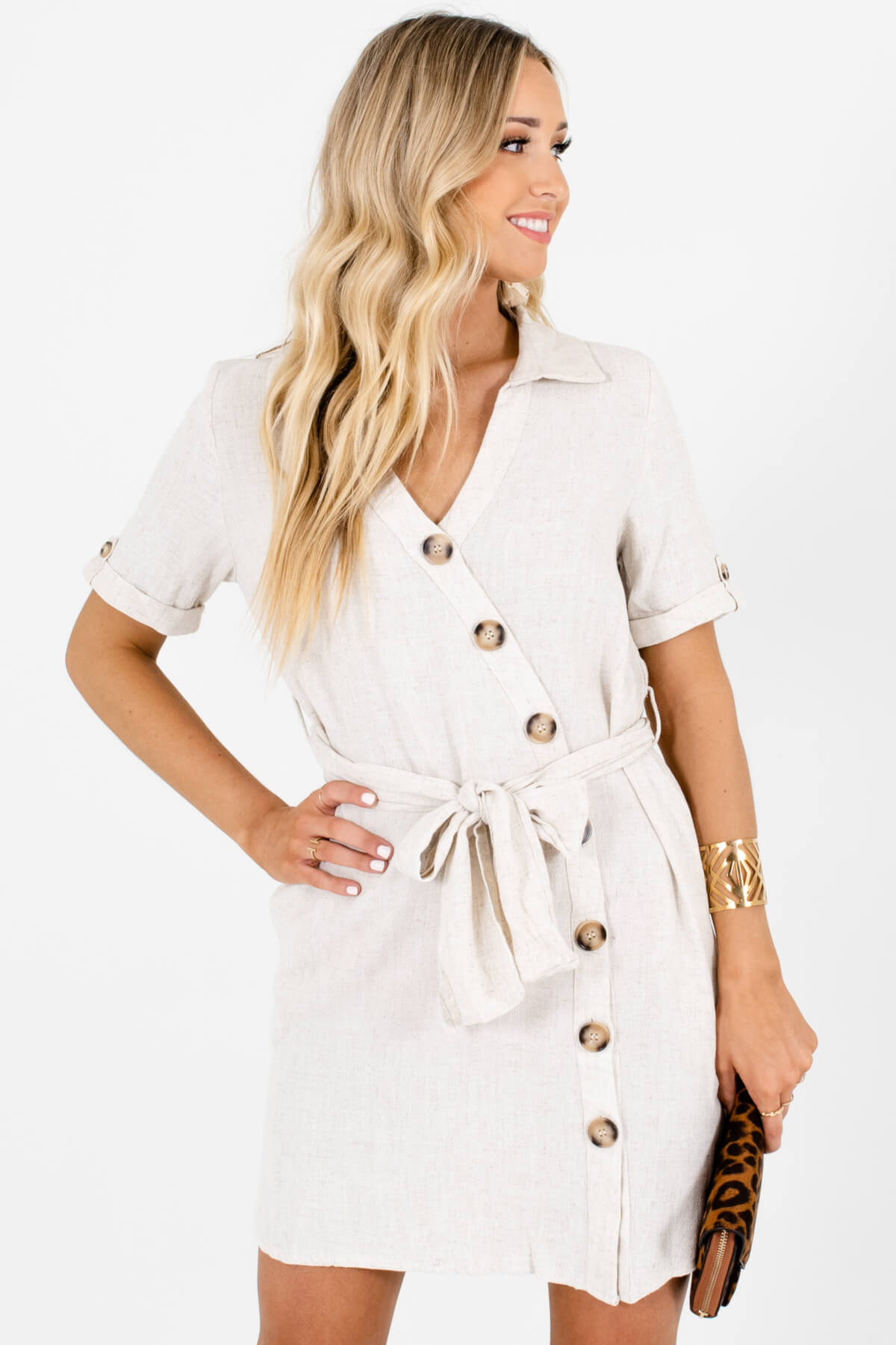 Beige Asymmetrical Button-Up Mini Dresses Affordable Online Boutique