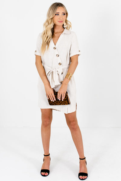Beige Asymmetrical Button Up Mini Dresses Affordable Online Boutique