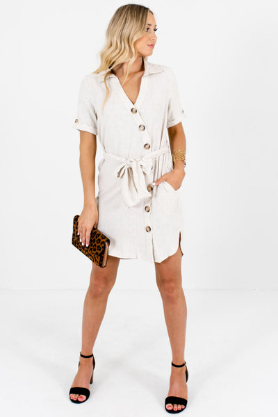 Light Beige Cream Button Up Mini Dresses for Summer and Fall