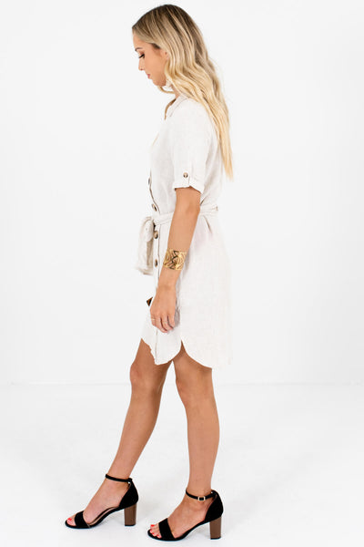 Beige Asymmetrical Button Mini Dresses with Tortoiseshell Buttons