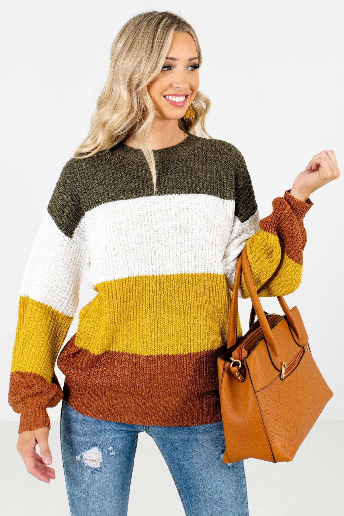 Mustard Yellow Color Block Striped Patterned Boutique Sweaters for Women