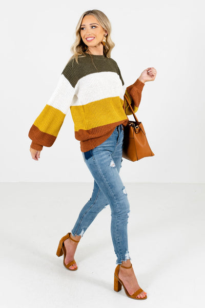 Mustard Yellow Cute and Comfortable Boutique Sweaters for Women