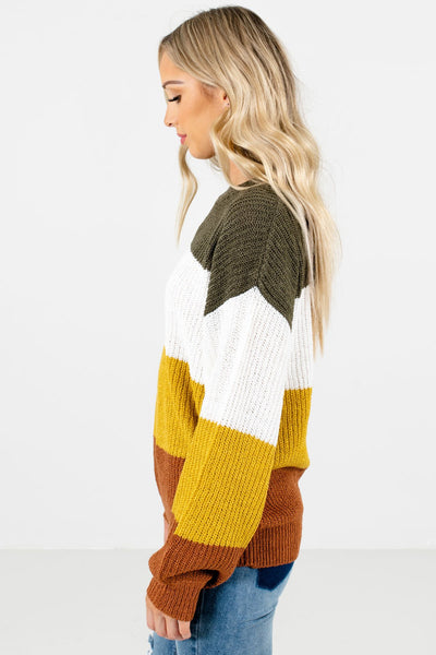 Mustard Yellow Round Neckline Boutique Sweaters for Women