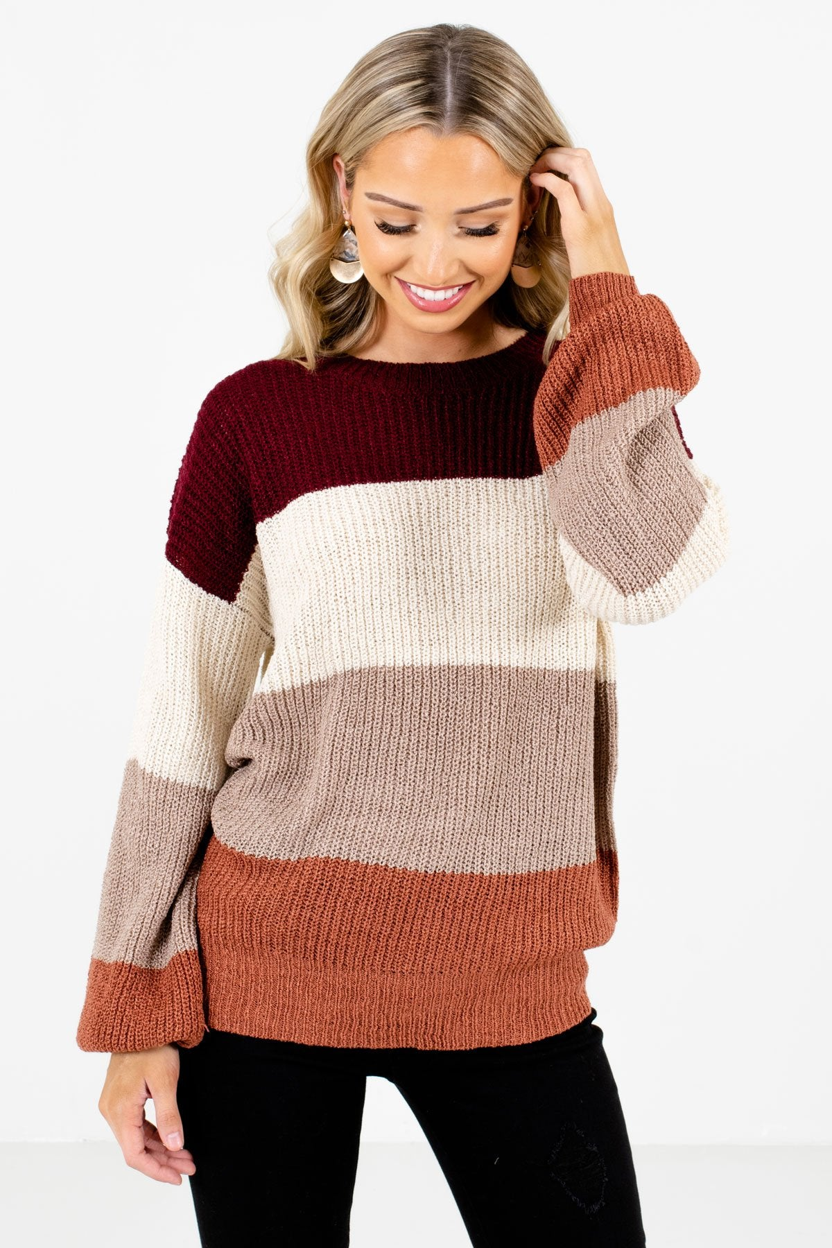 Taupe Brown Color Block Striped Patterned Boutique Sweaters for Women