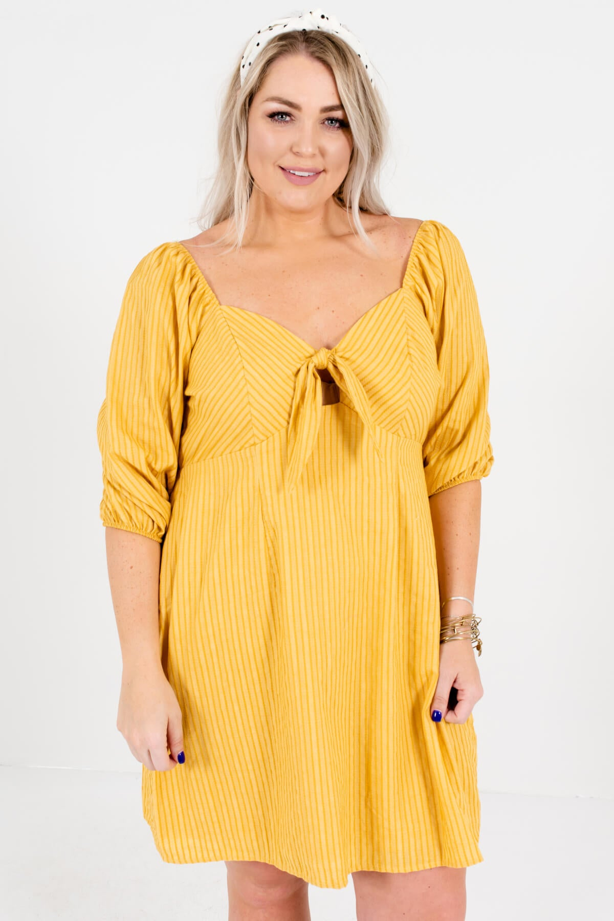 Mustard Yellow Plus Size Off Shoulder Puff Sleeve Tie-Front Cutout Mini Dresses