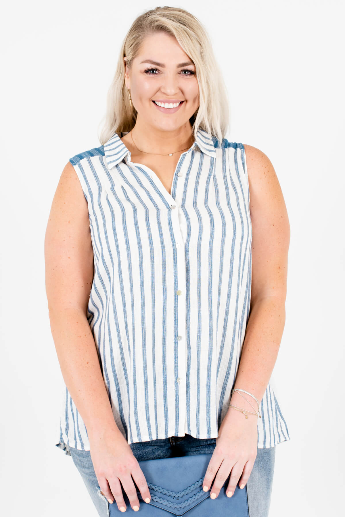 White Blue Striped Plus Size Button-Up High-Low Tank Shirts