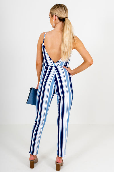 Navy Blue White Striped Soft Stretchy Boutique Jumpsuits