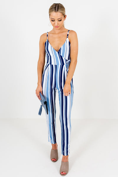 Navy White Blue Striped Boutique Jumpsuits Loungewear Daywear