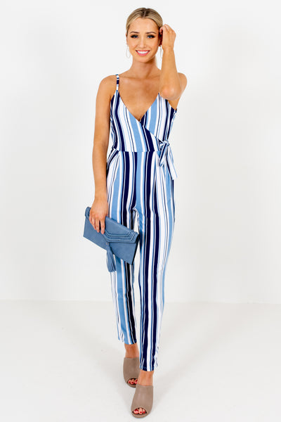 Blue Navy White Striped Soft Stretchy Jumpsuits for Women