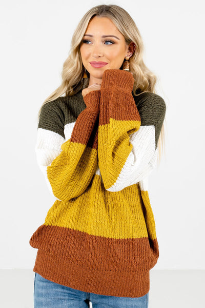 Women's Mustard Yellow Relaxed Fit Boutique Sweater