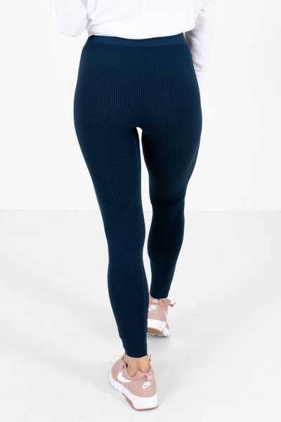 Women's Navy Striped Patterned Boutique Active Leggings