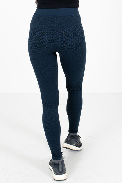Women's Navy Geometric Patterned Boutique Active Leggings