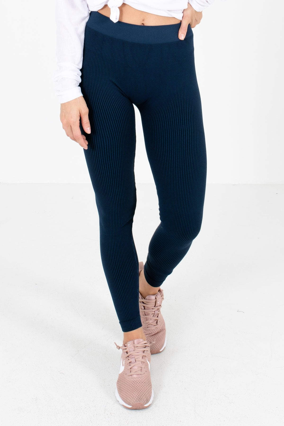Navy Striped High-Quality Stretchy Material Boutique Active Leggings for Women
