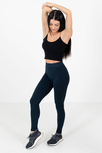 Women's Navy Textured Material Boutique Active Leggings