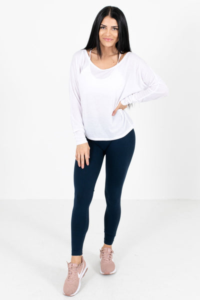Women's Navy Ribbed Material Boutique Active Leggings