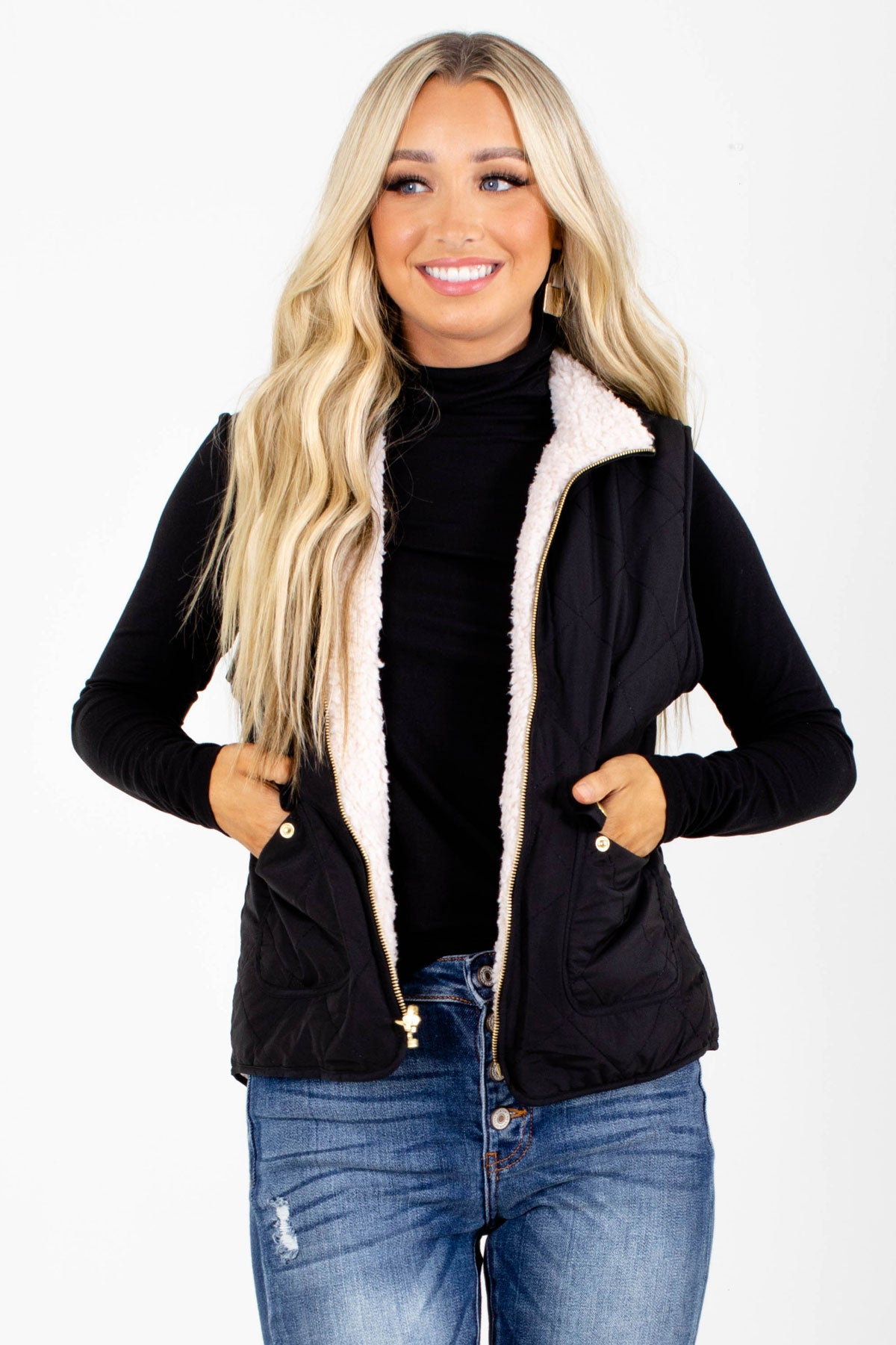 Black High-Quality Quilted Material Boutique Vests for Women