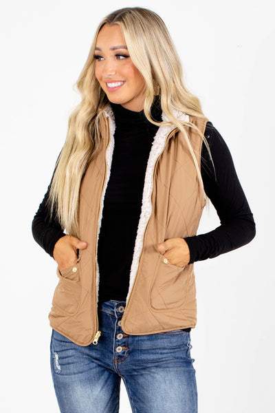 Camel High-Quality Quilted Material Boutique Vests for Women
