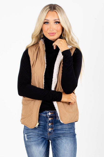 Never Give Up Camel Brown Vest