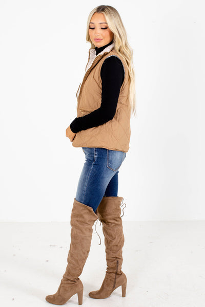 Camel Zip-Up Front Boutique Vests for Women