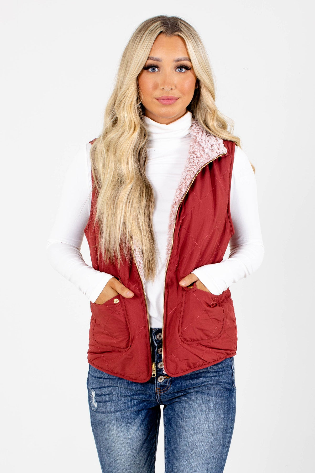 Mauve High-Quality Quilted Material Boutique Vests for Women