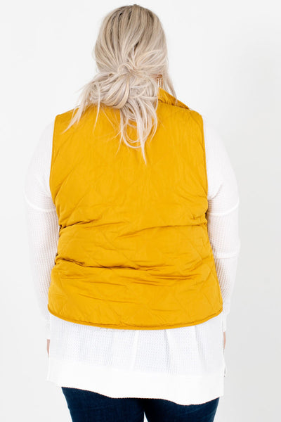 Women's Mustard Yellow Reversible Sherpa Style Boutique Vest