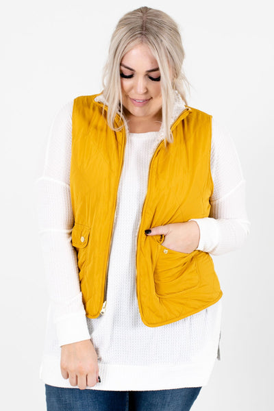 Mustard Yellow High-Quality Quilted Material Boutique Vests for Women