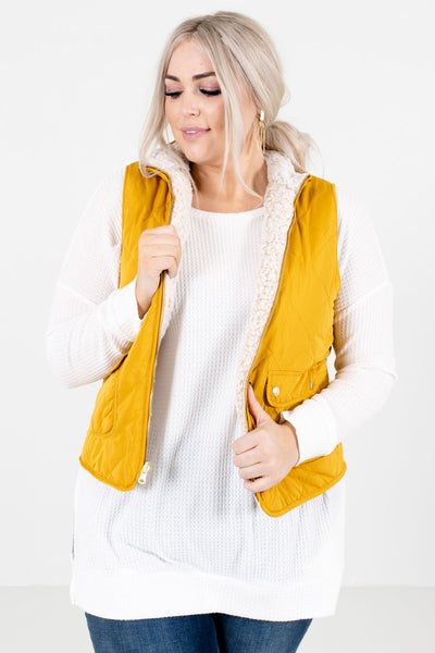 Mustard Yellow Cute and Comfortable Boutique Vests for Women