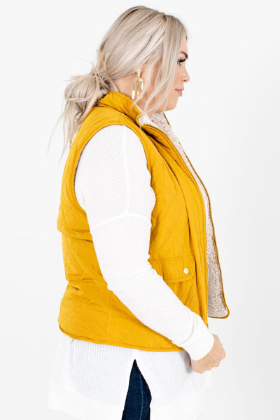 Mustard Yellow Zip-Up Front Boutique Vests for Women