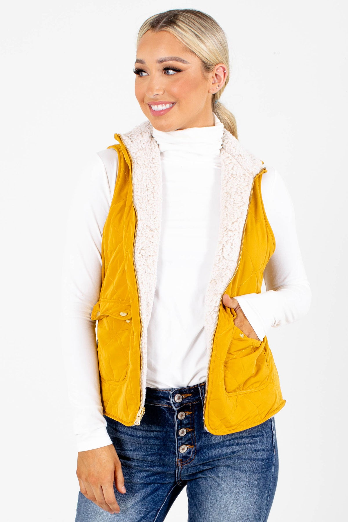 Mustard High-Quality Quilted Material Boutique Vests for Women