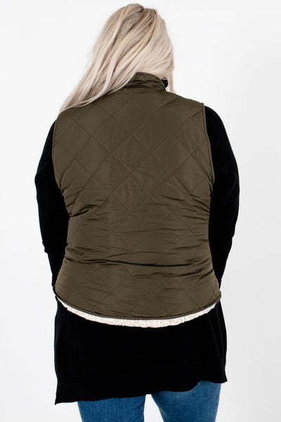 Women's Olive Green Reversible Sherpa Style Boutique Vest