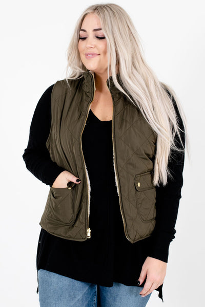 Women's Olive Green Boutique Vest with Pockets