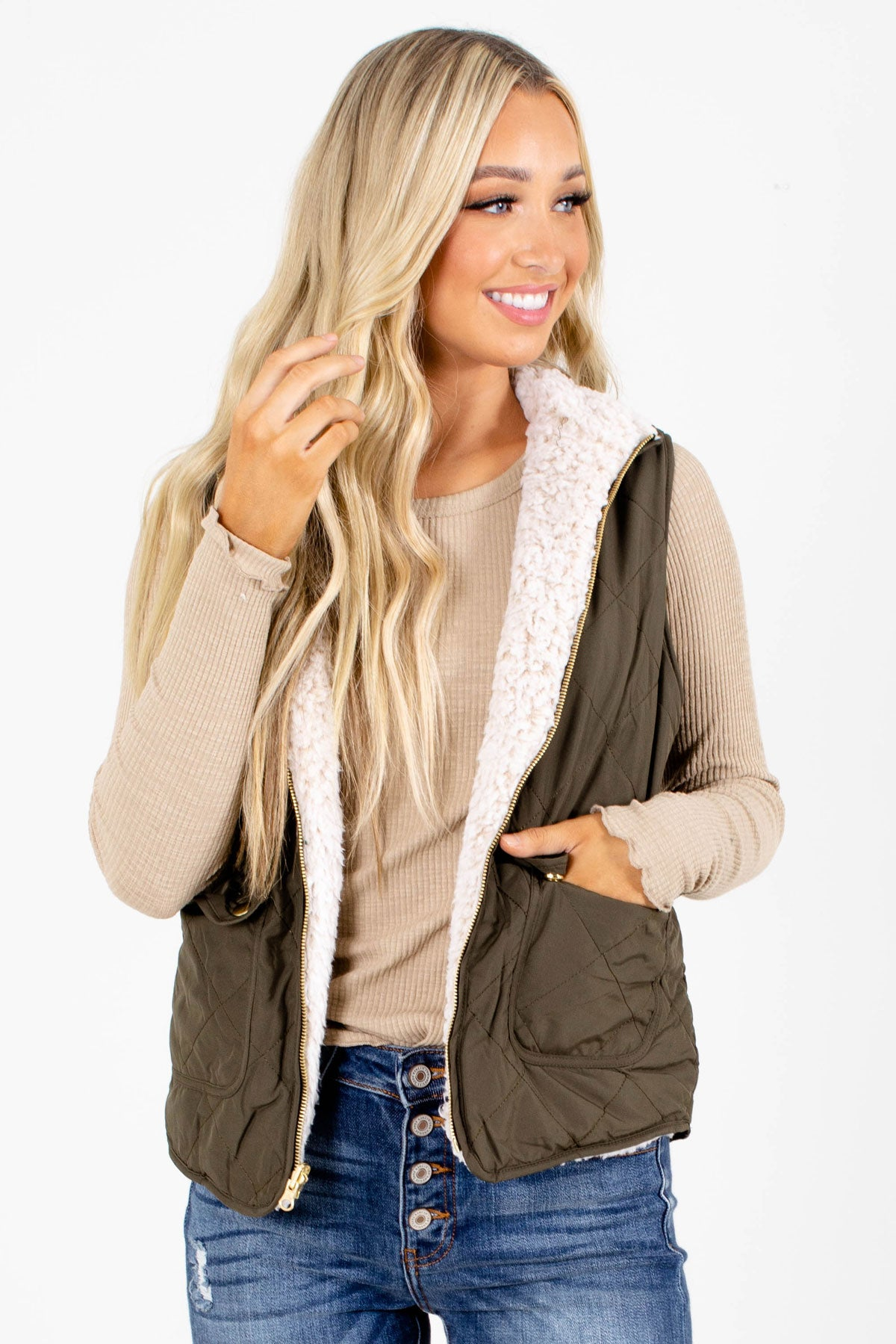 Olive High-Quality Quilted Material Boutique Vests for Women