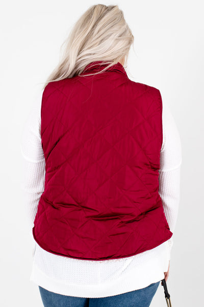 Women's Wine Red Reversible Sherpa Style Boutique Vest
