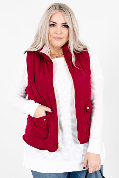 Wine Red High-Quality Quilted Material Boutique Vests for Women